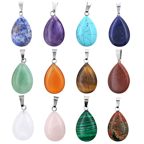 - Wholesale 12 PCS Assorted Real Quartz Stone Pendant Water Drop Healing Chakra Reiki Crystal Charm Bulk for Jewelry Making