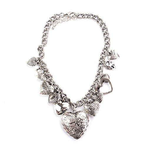 (LookLove Womens Jewelry Antique Silver Tone Heart Charm Necklace 17