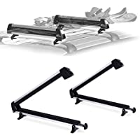 Car Rack & Carrier Ski Car Rack fits 6 Pairs Skis, Snowboard Car Rack fits 4 Snowboards, Ski Roof Carrier, Fit Most of The Flat and Round, Thick crossbars
