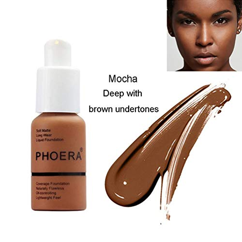 PHOERA Foundation Makeup, Firstfly 37ml Matte Oil Control Concealer Foundation Cream, Long Lasting Waterproof Matte Liquid Foundation (Best Matte Foundation For Black Skin)
