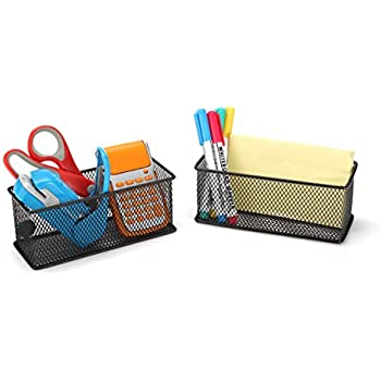 StorageMax Magnetic Baskets, Black Wire Mesh Pencil and Pen Holders for Refrigerator, Whiteboard, Office Cabinet and School Locker. Strong Magnets (2-Pack)