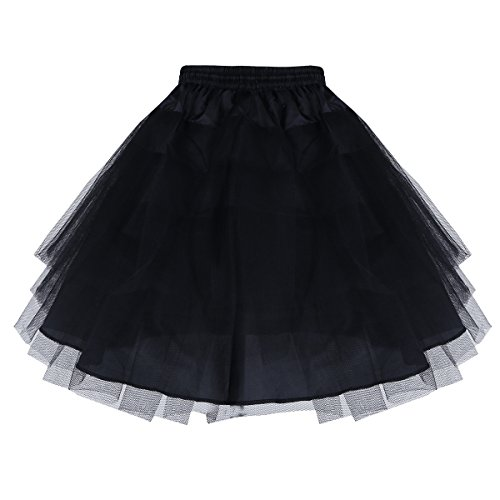 iEFiEL Girls 3 Layers Net Petticoat Underskirt Crinoline Slip for Flower Girls Wedding Dress Black One Size -