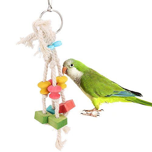 - Bird Supplies - Parrot Bite Toys Colorful Pet Bird Wood Cotton Rope Cage Chew Toy Birds - Outdoor Parakeets Cockatoos Cockatiel Parrots Platinum Cockatiels Canary Prime Finches