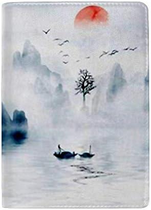 パスポートカバー スキミング防止 本革 パスポートケース 出張 旅行 カードパッケージ 旅行便利グッズ 多機能 旅券ケース 手描きの中国風のエレガントな湖と風景 男女兼用
