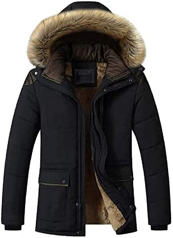 Gsdgjgg Mens Faux-Fur-Hood Solid Winter Thicken Fleece Warm Quilted Jacket Coat OuterwearBlackXX-Large / Gsdgjgg Mens Faux-Fur-Hood Solid Winter Thicken Fleece Warm Quilted Jacket Coat OuterwearBlackXX-Large