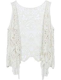 Women's Open Stitch Sleeveless Cardigan Boho Hippie Clothes Butterfly Crochet Vest Beige One Size