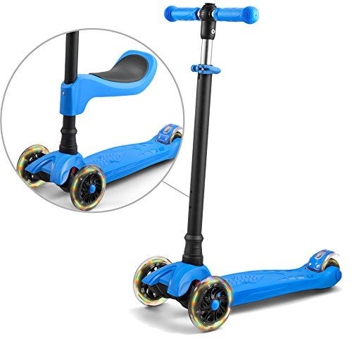 scooter for kids scooters 3 wheeled scooter 3 wheel scooter for kids ages 6-12 (Blue)