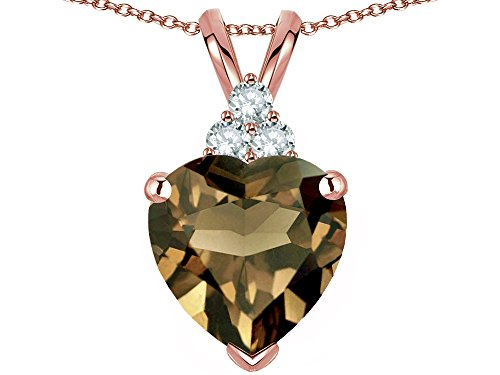 Star K 8mm Heart Shape Genuine Smoky Quartz Three Stone Pendant Necklace 14 kt Rose Gold
