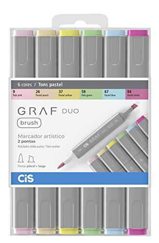 Marcador Artístico 2 Pontas, CiS, Graf Duo Brush, 60.88, 6 Cores, Tons Pastel