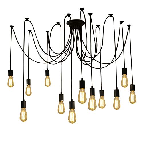 Fuloon Vintage Edison Multiple Ajustable DIY Ceiling Spider Lamp Light Pendant Lighting Chandelier Modern Chic Industrial Dining With Remote Control (12 head cable 200cm/78.8inch each)