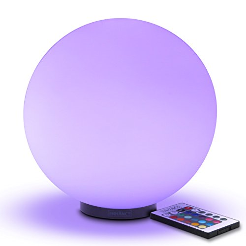 ENHANCE LED Dimmable Lamp - Premium Glass Mood Lamp with Remote Control - 7.9 inch Globe Night Light, 4 Lighting Modes, Battery Powered, or AC Adapter - Perfect for Children and Adults