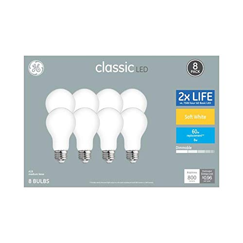 GE 8-Pack 60 W Equivalent Soft White A19 LED Classic Style Light Fixture Light Bulbs