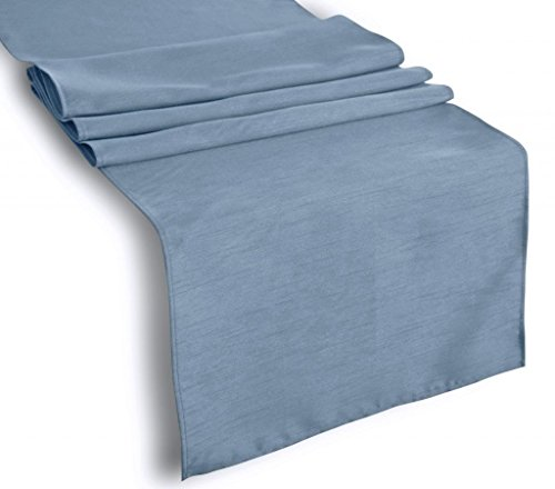 Aiking Home (Pack of 12) Solid Faux Silk Table Runner, Slate Blue-Size 13''x90''- Ideal for Wedding, Baby Shower, Party Decor, Thanksgiving, Christmas or Special Event.
