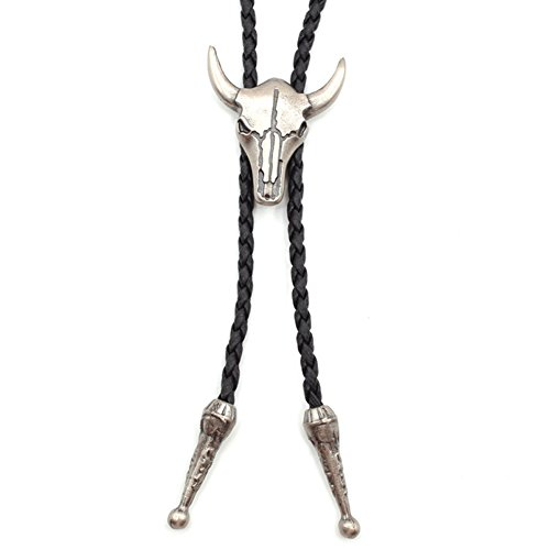 Jenia Mens Texas Skull Bolo Tie Cowboy Rodeo Leather Necktie Western Jewelry Adjustable Cord Necklace for Boy Kids Silver