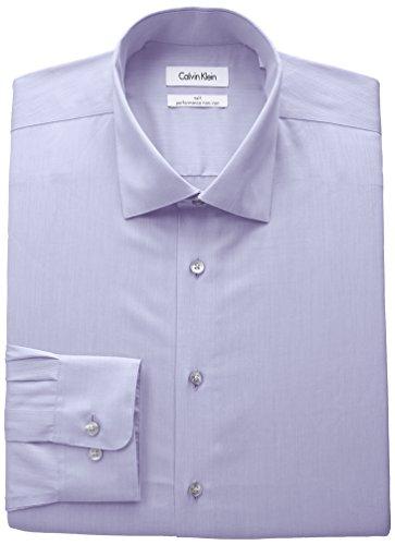 Calvin Klein Men's Big and Tall Non Iron Fit Herringbone Spread Collar Dress Shirt, Lilac, 18.5'' Neck 37''-38'' Sleeve by Calvin Klein