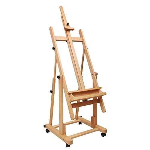 Heavy Duty Extra Large H-Frame Studio Easel - ATWORTH Versatile Beech Wood Artist Floor Easel Adjustable Painting Easel Stand, Movable and Tilting Flat Available ()