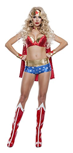 (Starline Women's Sexy Wonder Lady 5 Piece Costume Set, Red/Gold/Blue, Small)