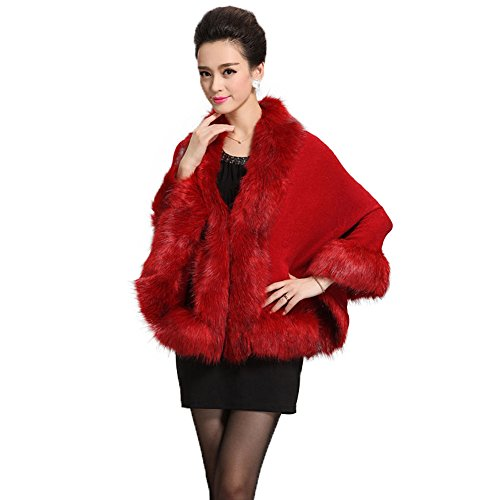 Caracilia Women Bridal Faux Fur Shawl Wraps Cloak Coat Sweater,Wine,One -