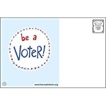 Be a Voter Postcards (original design), Bulk set of 100 blank 4x6 postcards printed on linen cardstock; this purchase helps support operating costs of Postcards to Voters