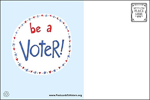Be a Voter Postcards (original design), Bulk set of 100 blank 4x6 postcards printed on linen cardstock; this purchase helps support operating costs of Postcards to Voters by Postcards to Voters by Tony The Democrat