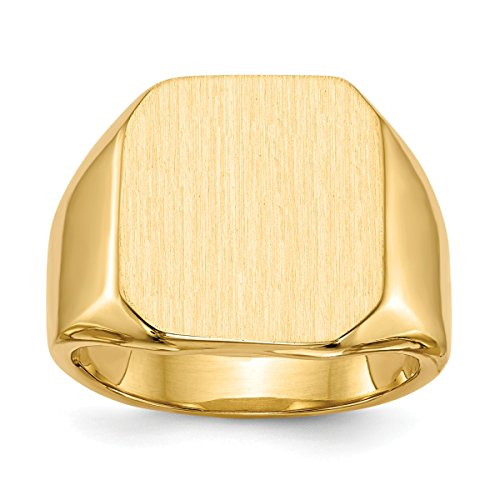 Personalized Ring Tapered (Roy Rose Jewelry 14K Yellow Gold Mens Tapered Square Solid Back Signet Ring FREE Custom Personalized Engraving with 3 Letter Monogram)