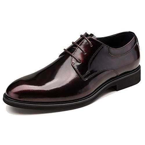 Xycszq Encaje Usable Caucho Apuntado Winered Cómodo Zapatos De Casual Cuero Transpirable Hombres q4r6Faqwp