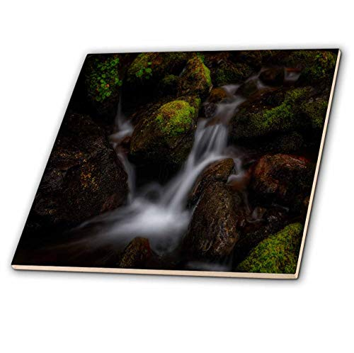 3dRose Mike Swindle Photography - Landscapes - Water Cascades Over Rocks in Stream - 4 Inch Ceramic Tile (ct_307813_1)