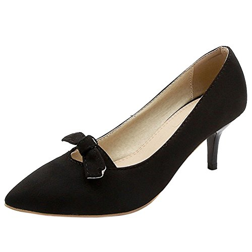 Fashion Shoes Mid Women TAOFFEN Heel Pumps Black 0cW5ddv