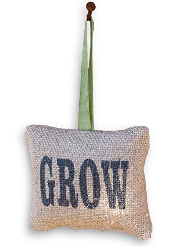 Decorative Hanging Pillow - Grow Miniature Decorative Burlap Hanging Pillow - 4.5 Inches Wide