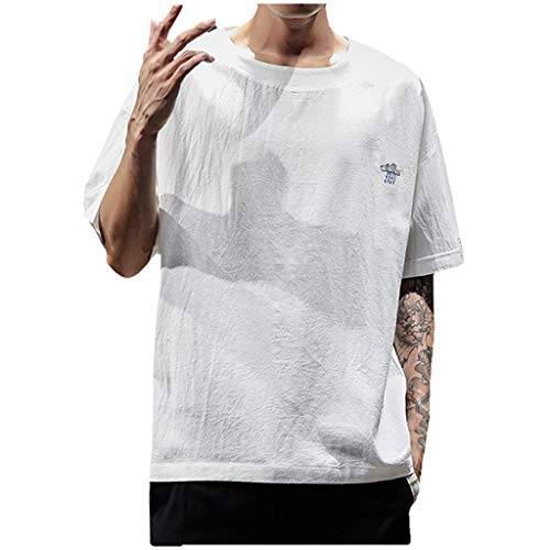 TANGSen_Mens Summer Embroidery T-Shirts Casual Cotton Linen O-Neck Tops Short Sleeve Loose Leisure Fashion Tops White (Bejeweled Cotton Jersey)