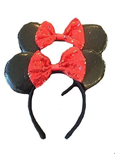 Mickey/Minnie Mouse Style Ears Boys, Girls, Children, Adults, Halloween (Big Sparkling Bow [2 Red]) -