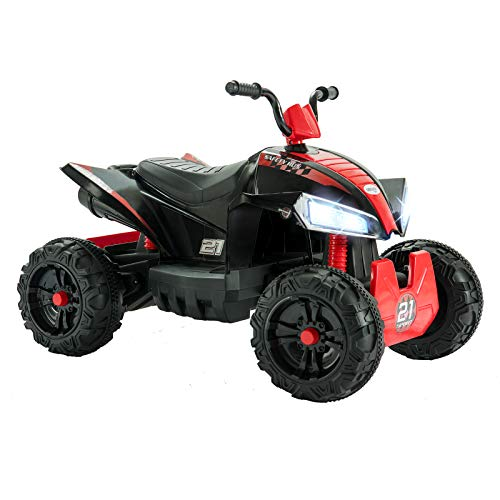 Uenjoy ATV for Kids 4 Wheeler Quad 12V Electric Ride On Car w/2 Speed,Suspension,LED Lights,Built-in Horn,Treaded Tires,Engine Sounds for Child (Red)