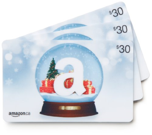 Amazon.ca $30 Gift Cards, Pack of 3 (Holiday Globe/Globe de neige Card Design)