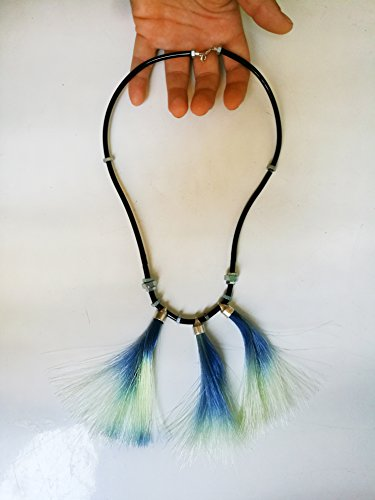 Blue Peacock Bib Necklace Made of Black Shiny Plastic Tube Silver Nuts And Plastic Thred (Pierced Nut)