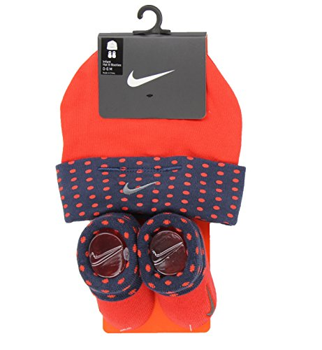 Nike Infant Hat and Booties Sock Gift Set (0-6 Months, Habanero Red)