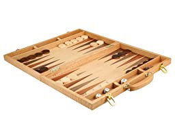 Christopher Wood Backgammon Set - 18 Inch Suitcase Board Game with Wooden Pieces - Extra Large