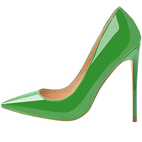 Green Leather Pumps - Lovirs Womens Green Patent Pointed Toe High Heel Slip On Stiletto Pumps Wedding Party Basic Shoes 8.5 M US