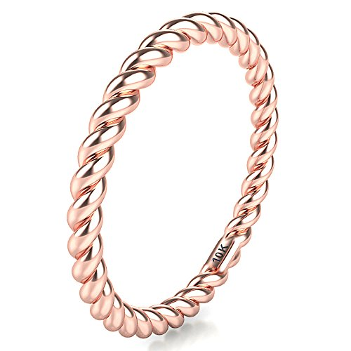 Sz 7.0 Solid 10K Rose Gold 2MM Eternity Rope Wedding Band -