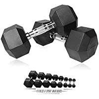 HCE Hex Dumbbells Set - Pair of 1Kg-50Kg Rubber Coated Black Hex Dumbbell Weights - Chrome Textured Non-Slip & Easy-Grip…