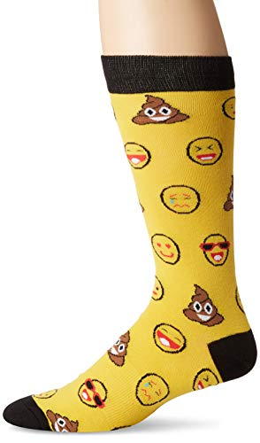K. Bell Men's Classics Novelty Crew Socks, Emojis (Yellow), Shoe Size: 6-12
