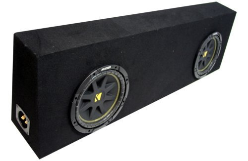ASC Package Dual 12″ Kicker Sub Box Regular Cab Truck Black Subwoofer Enclosure C12 Comp 600 Watts Peak