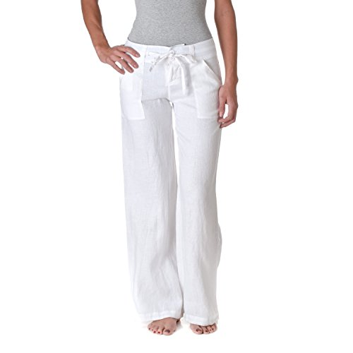 Love Tree Womens 100% Linen Wide Leg Pants White Size Small