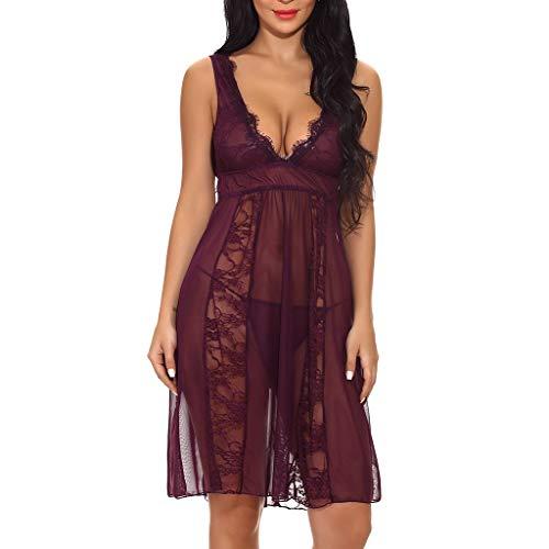 (WUAI Womens Lingerie V-Neck Lace Babydoll Mesh Sleepwear Plus Size Bodysuit)
