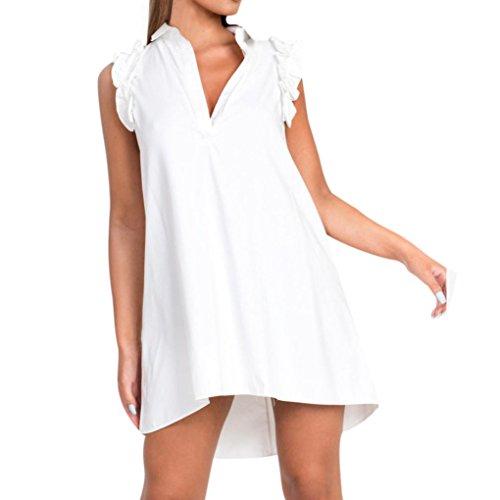 931c25530c5c kingko Sommerkleider Damen Kurzarm V-Ausschnitt Strand Kleider Elegant  Vintage Abendkleid Knielang Damen Cocktail Kleid