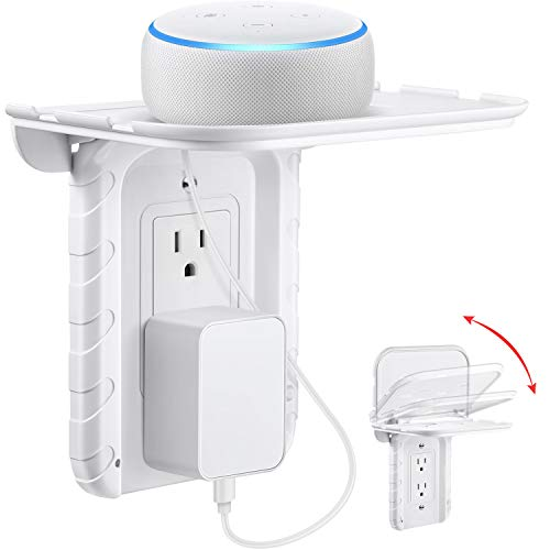 (Frienda Foldable Outlet Shelf, Bulit in Cable Channel, Phone Stand Holder, for Hidden Cord and Extra Custom Short Cord Great for Google Home, DOT, Nest, Security Camera, Smart Speakers (Decor Outlet))
