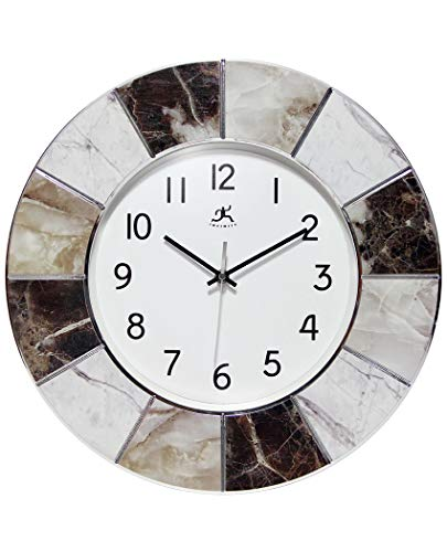 Infinity Instruments Modern Marble Wall Clock | 16 inch Professional Easy-to-Read Large Wall Clock | Multi-Color Marble Frame (Modern Clocks Kitchen)
