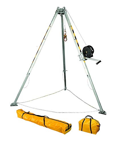 FallTech 7507 Confined Space Tripod Kit - Tripod Kit with 7276 Tripod, 7293 Winch, 7291B Leg Bracket, and Storage Bags, - Confined Equipment Space