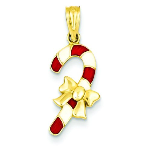 14K Gold Red and White Enameled Candy Cane Pendant