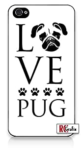 Love Pug Dog Direct Print (not a sticker) iPhone 5C Quality Hard Snap On Case for iPhone 5C - AT&T Sprint Verizon - White Case