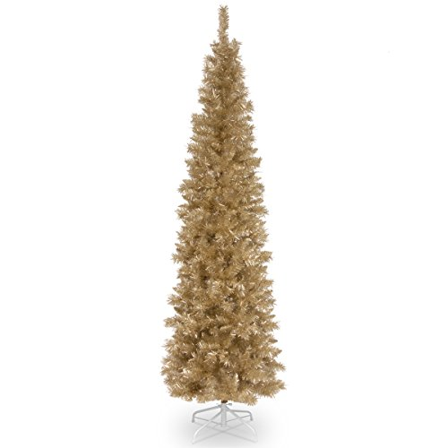 Tinsel Christmas Trees - National Tree 6 Foot Champagne Tinsel Tree with Metal Stand (TT33-702-60)